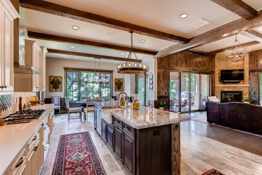 Rustic Open Floor Plan Kitchen And Living Room With Old World Charm