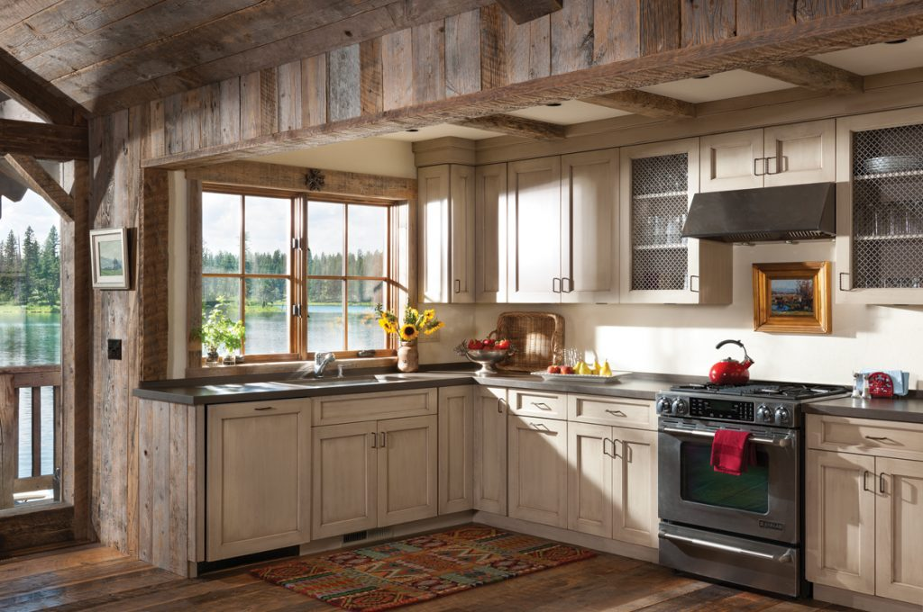 Rustic Open Kitchen With Reclaimed Wood Siding In This House A