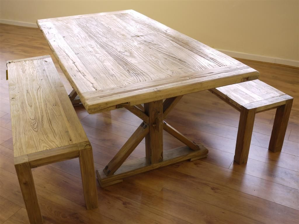 Rustic Reclaimed Elm Dining Table Two Benches