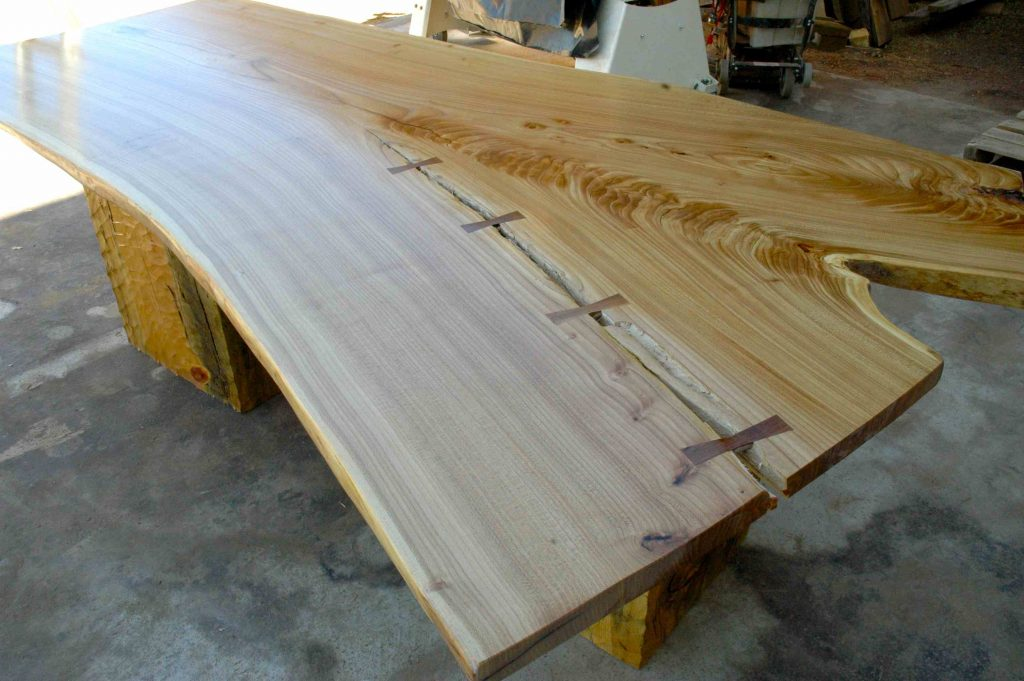 Rustic Siberian Elm Slab Custom Dining Table With Organic Shape