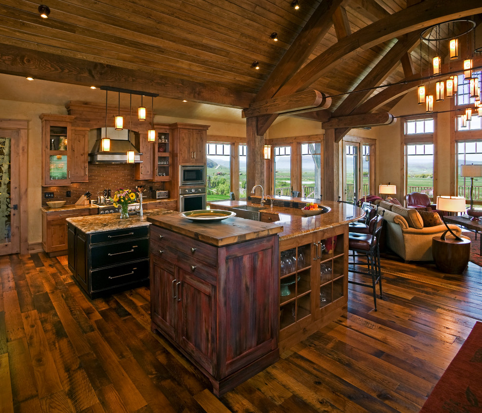 Rustic Vaulted Ceiling House Plans Rustic Open Kitchen Living
