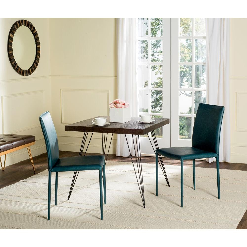 Safavieh Karna Bonded Leather Dining Chair In Antique Teal 2 Pack