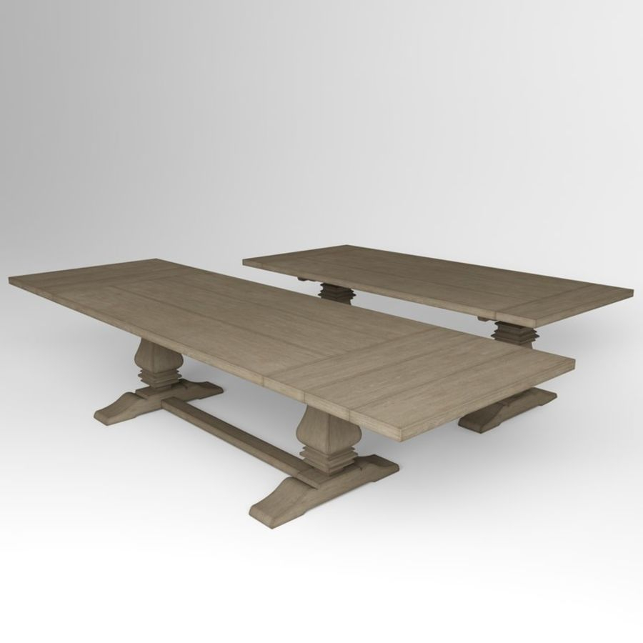 Salvaged Wood Trestle Rectangular Extension Dining Table 3d Model