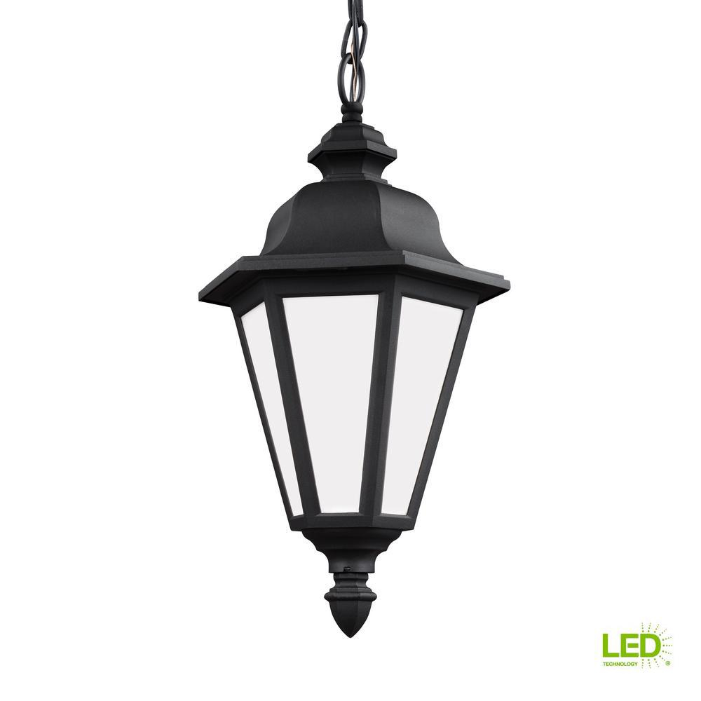 Sea Gull Lighting Brentwood Black 1 Light Outdoor Hanging Pendant