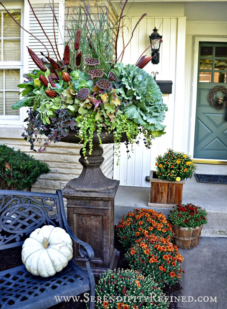 Serendipity Refined Blog Fall Porch And Urn Decorations