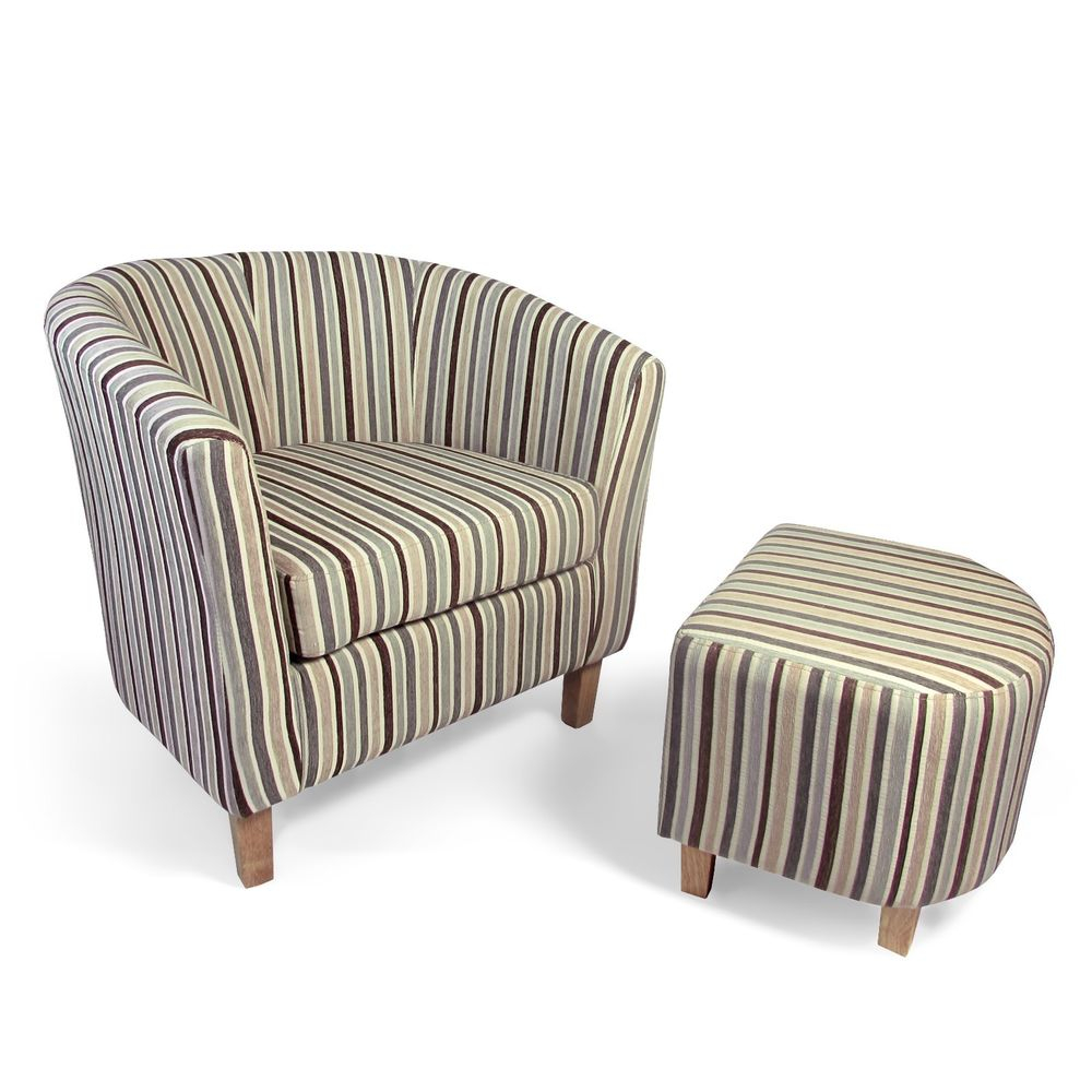 Shankar Eclipse Stripe Tub Chair And Footstool Set In Various Colours