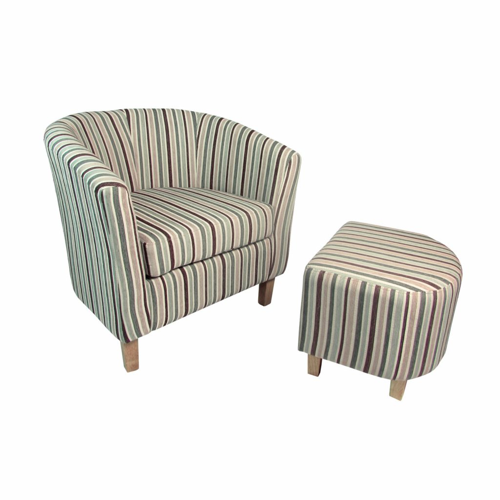 Shankar Stripe Tub Chair And Footstool