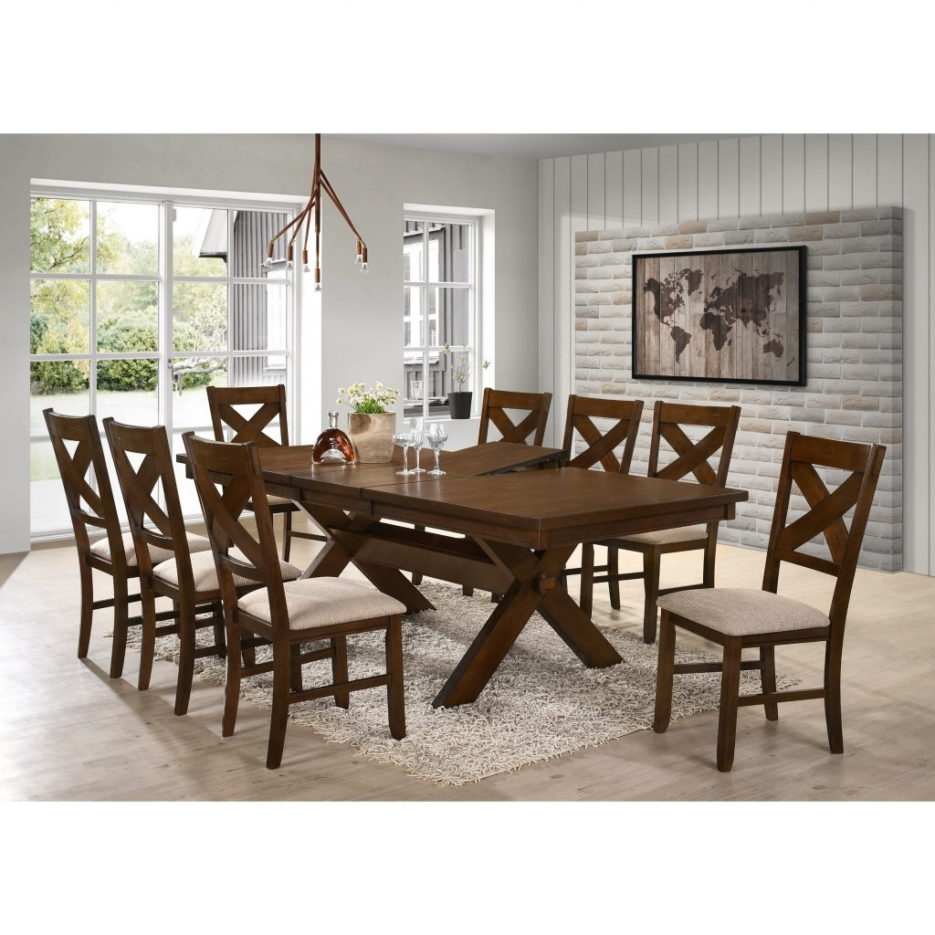 Shop 9 Piece Solid Wood Dining Set With Table And 8 Chairs Free