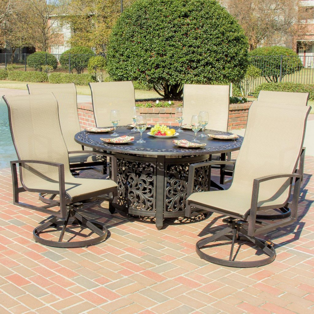 Shop Acadia 6 Person Sling Patio Dining Set With Fire Pit Table