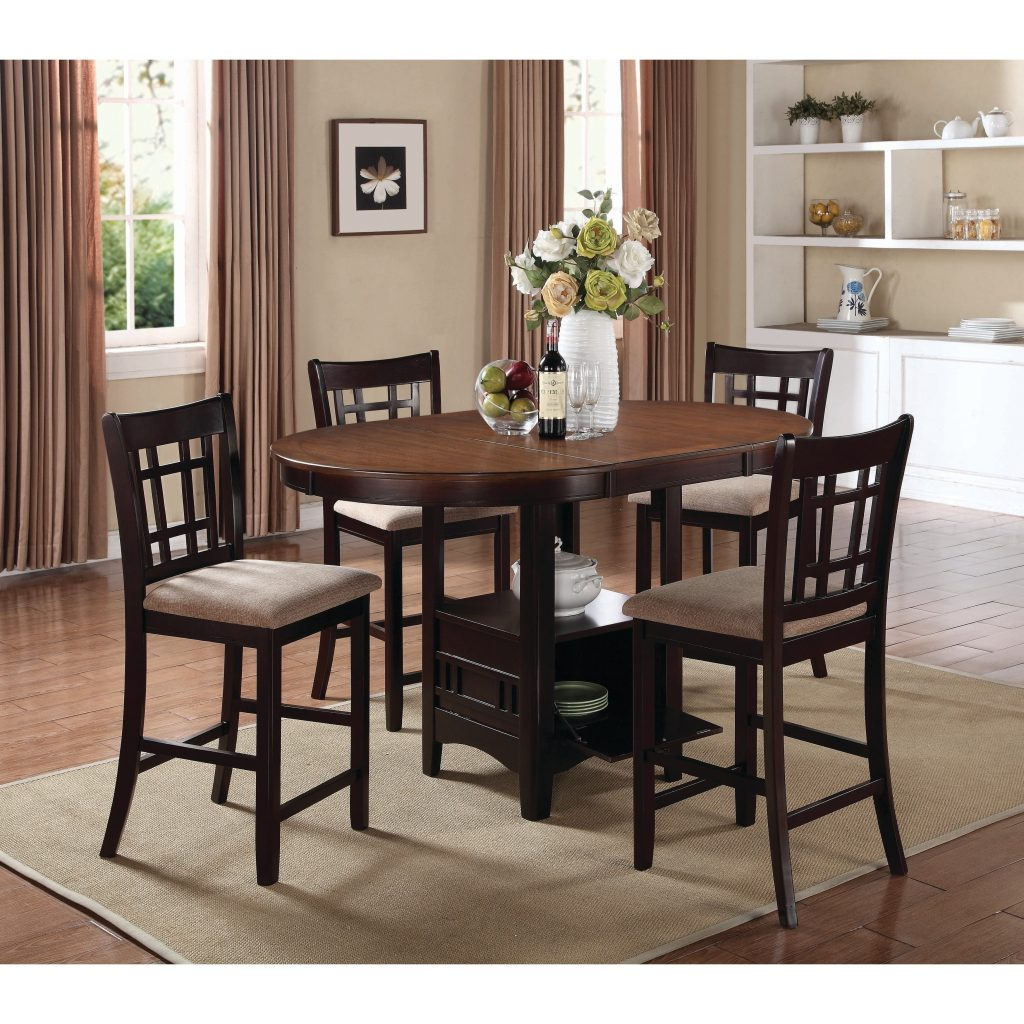 Shop Lavon Transitional Beigeespresso 5 Piece Counter Height Dining