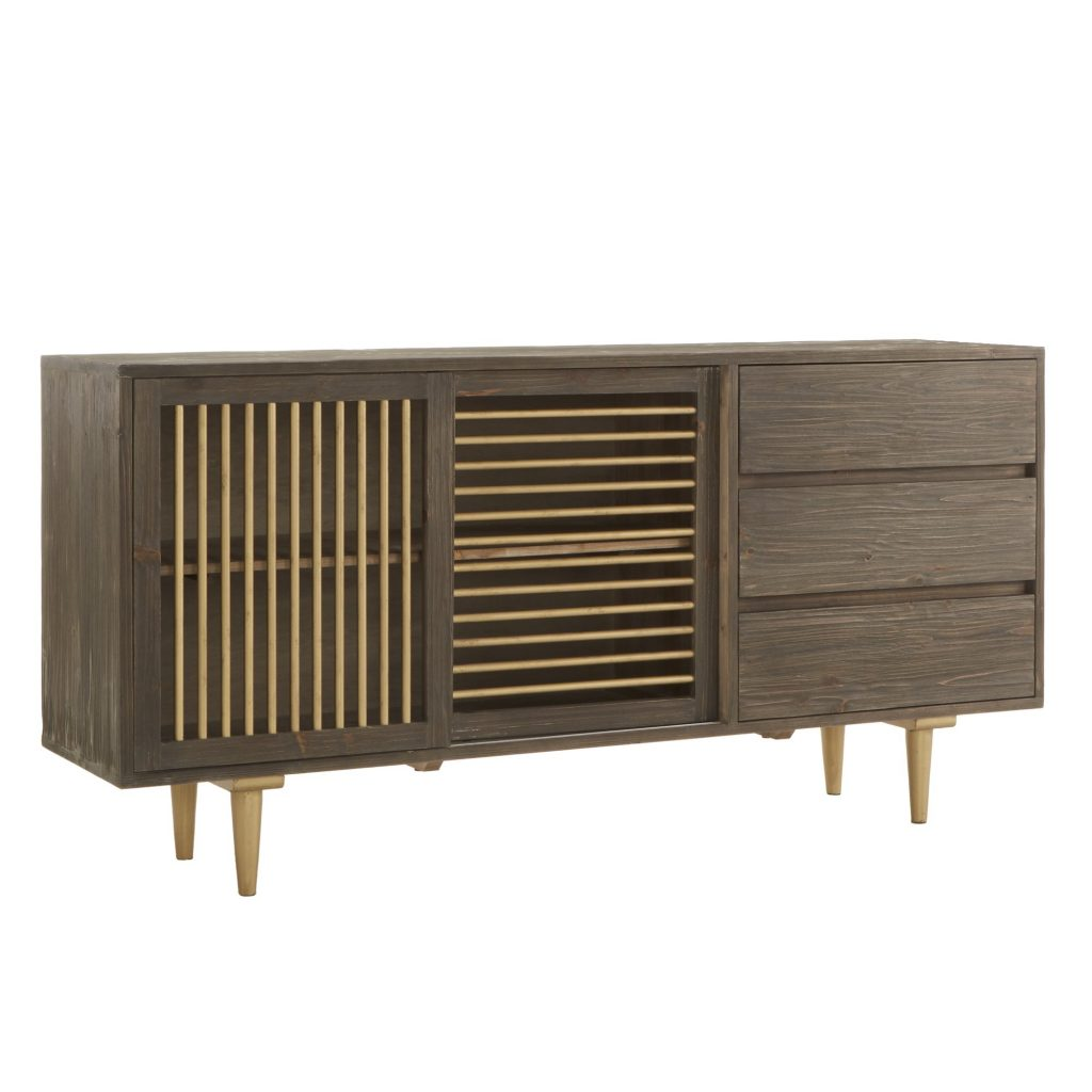 Shop Lionel Reclaimed Wood Buffet With Linear Metal Door Inspire
