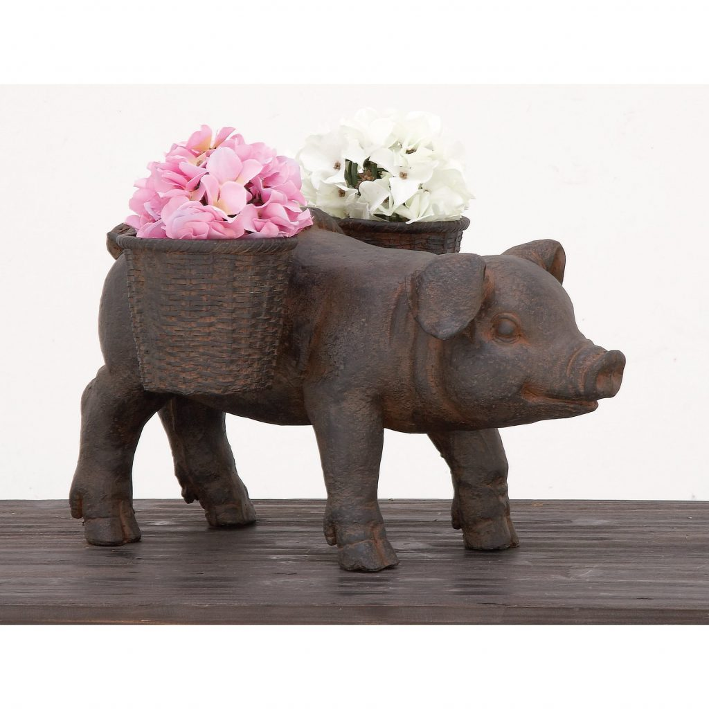 Shop Urban Designs Happy Piggy Brown Cast Stone Planter Garden Decor