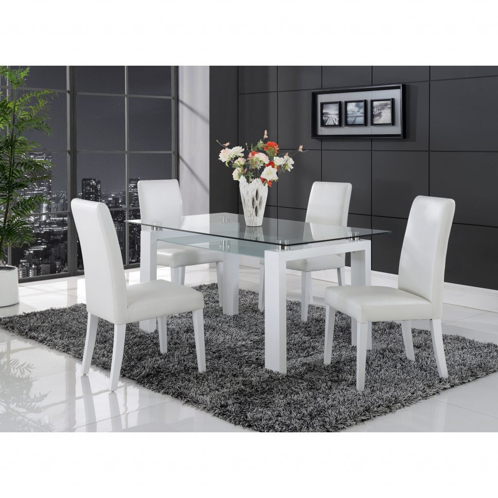 Shop White Solid Wood Glass Top Dining Table Free Shipping Today
