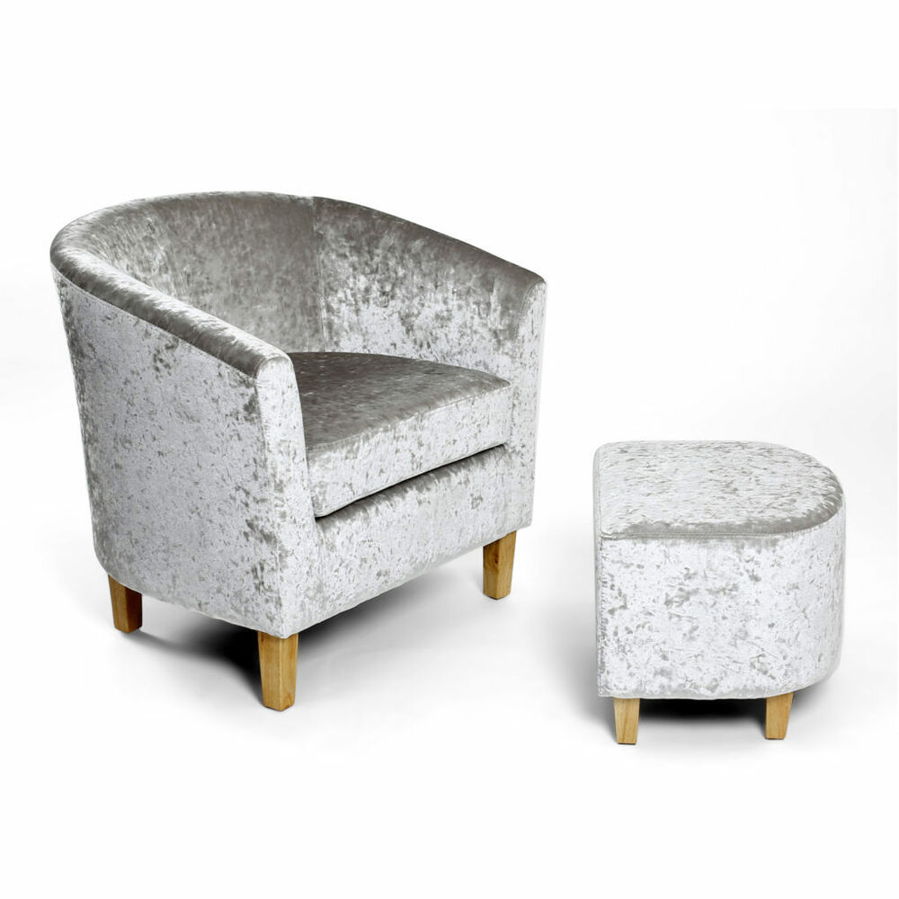 Silver Crushed Velvet Tub Chair Footstool Set W74cm X D68cm X
