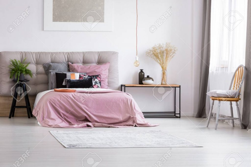 Simple Furniture In Minimalist Bedroom Interior With Contemporary