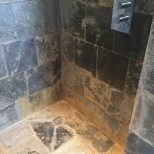 Slate Tiled Shower Cubicle Ruined Limescale Renovated In Wantage