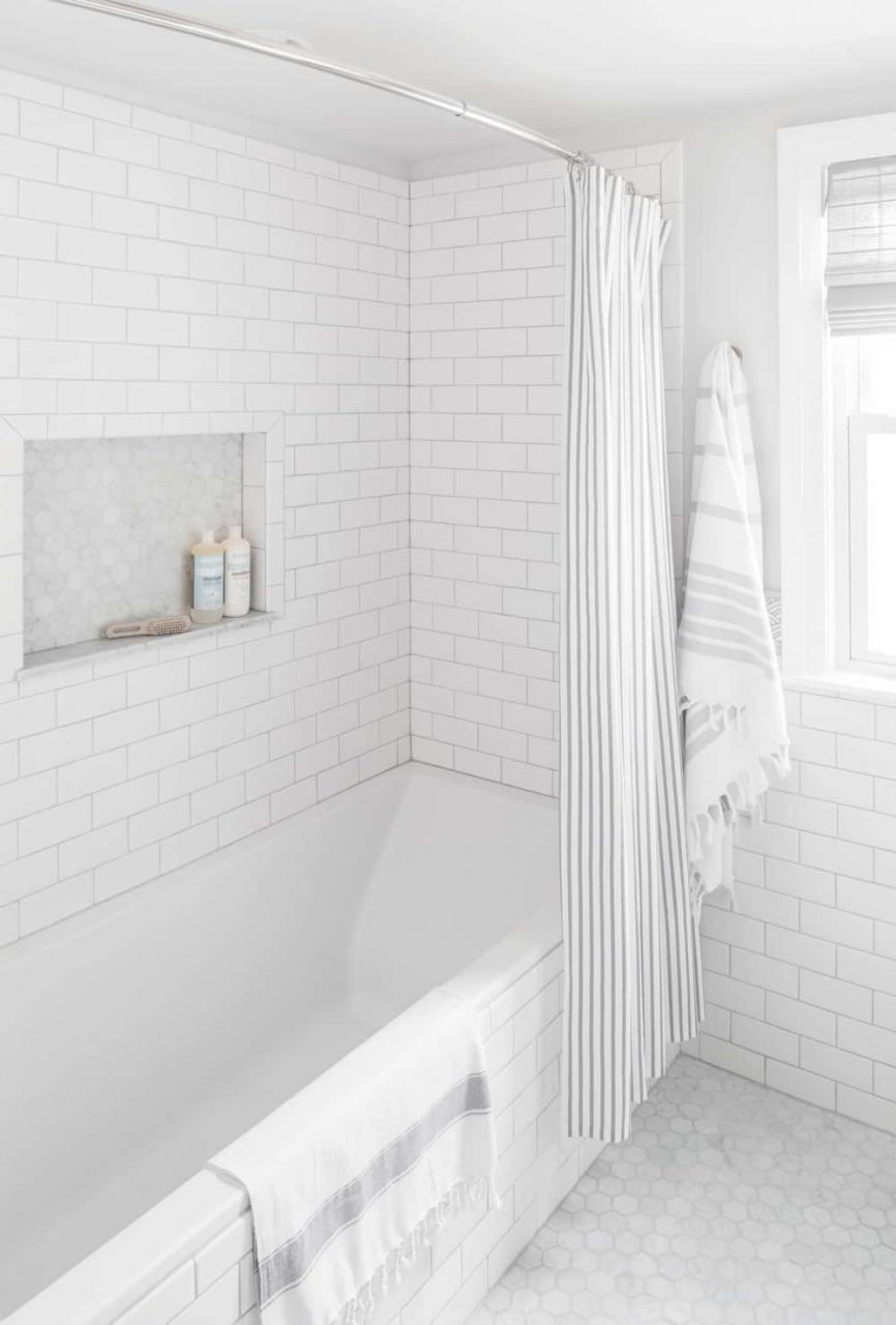 Small Bathroom Renovation White Subway Tile Centered Design