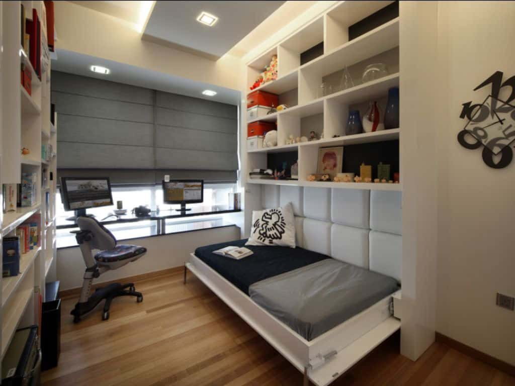 Small Bedroom With Shelves And Led Lights Over Murphy Bed The