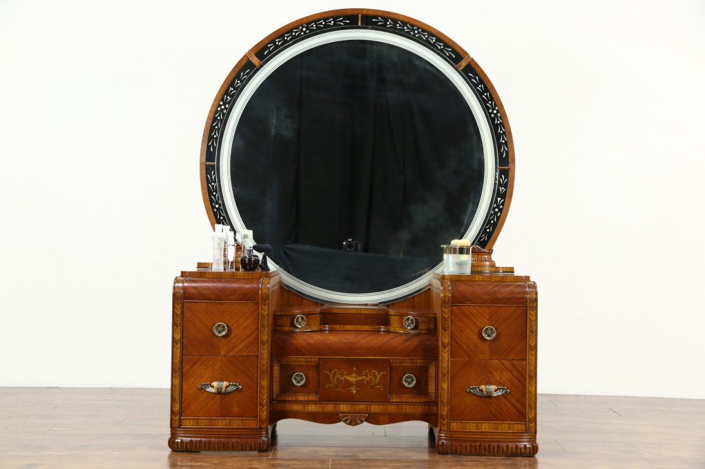 Sold Art Deco Waterfall 1935 Vintage Dressing Table Vanity Etched