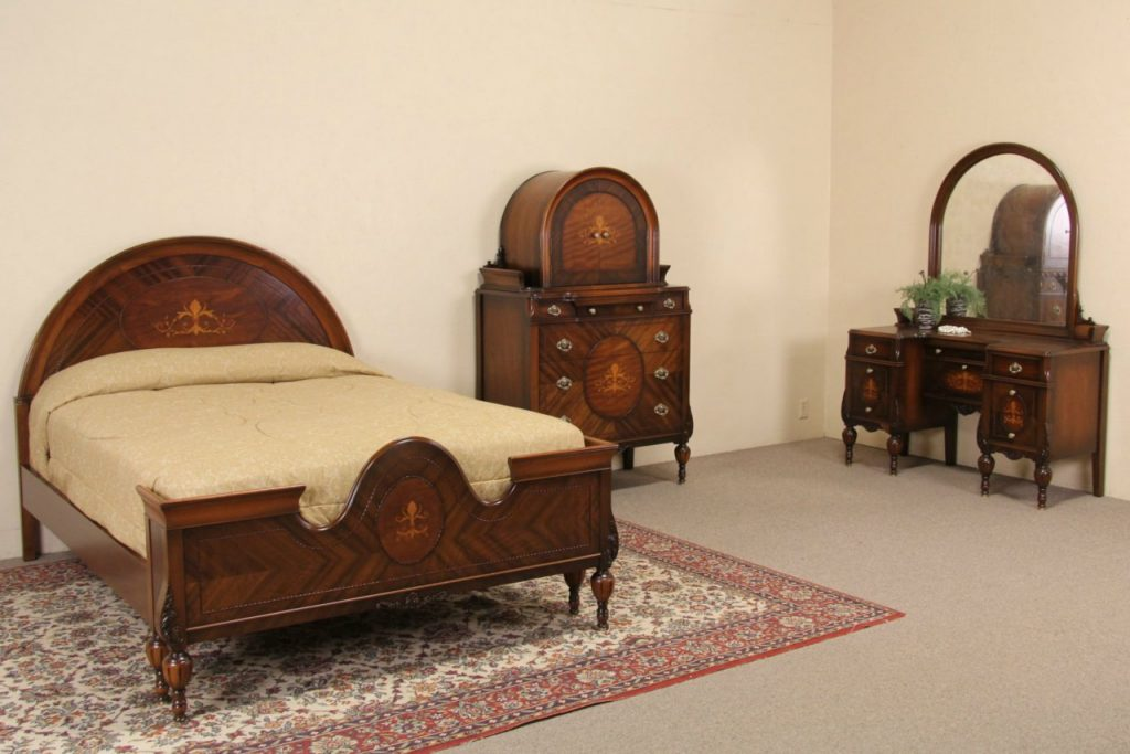 Sold Marquetry 1920s Full Size Antique Bedroom Set 3 Pc Harp