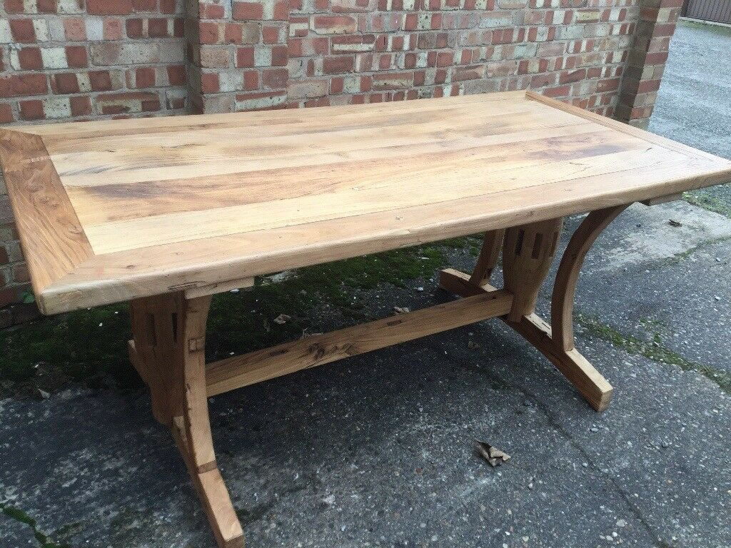 Solid Reclaimed Elm Dining Table 180cm X 90cm New Boxed In