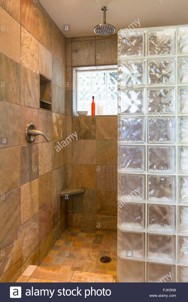 Spa Bathroom Shower Area With Slate Tile And Glass Block Walls In