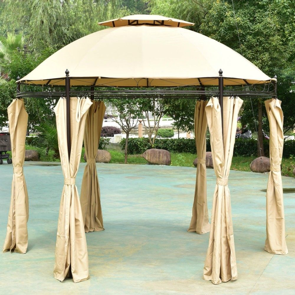 Steel Gazebo Round Screened Pavilion Patio Double Roof Canopy Vented