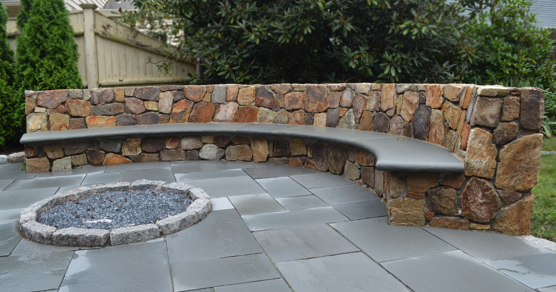 Stone Patio Bench Design Unique Hardscape Design Long Lasting