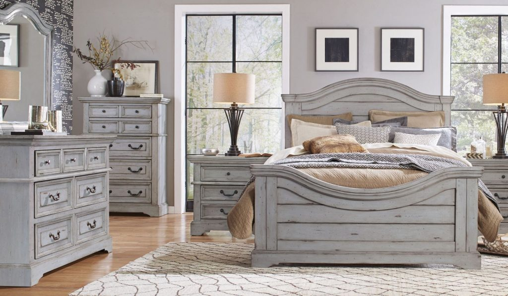 Stonebrook Antique Gray Panel Bedroom Set From American Woodcrafters