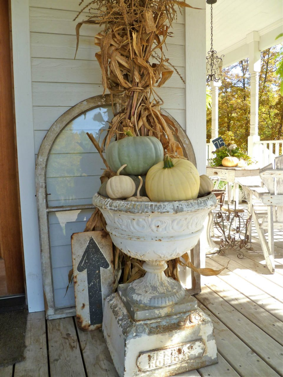 Stunning Fall Urn Found Sign Decorations Homebnc