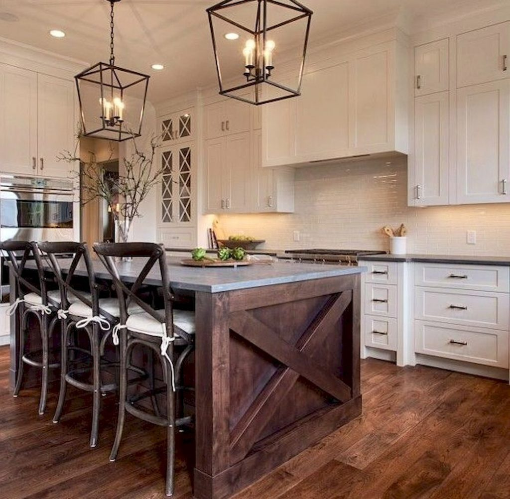 Stylish And Inspired Farmhouse Kitchen Island Ideas And Designs 48