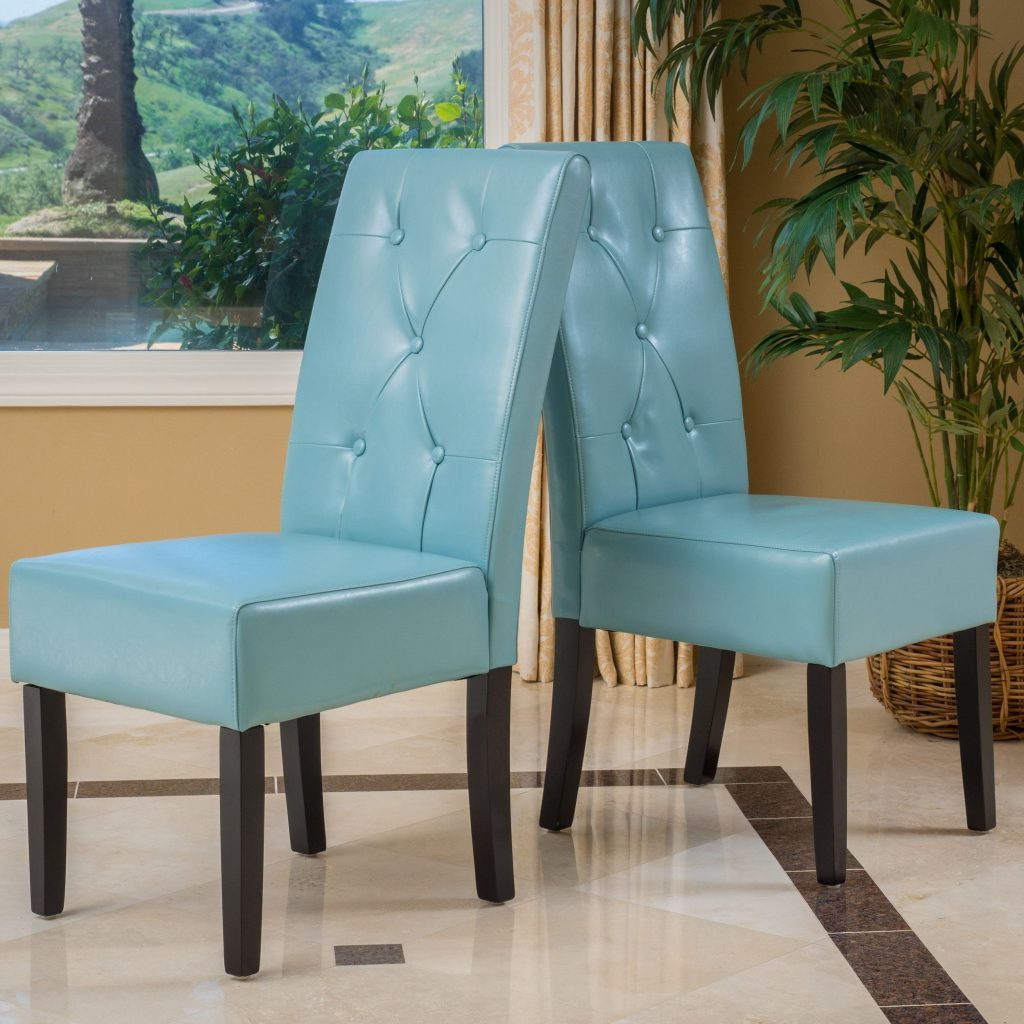 Taylor Blue Bonded Leather Dining Chair Set Of 2 Christopher