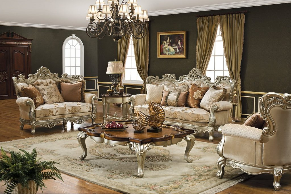 The Caesar Formal Living Room Collection In Antique Silver Living