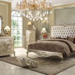 This Pearl Finish Victorian Style Bedroom Set From Homey Design Is A