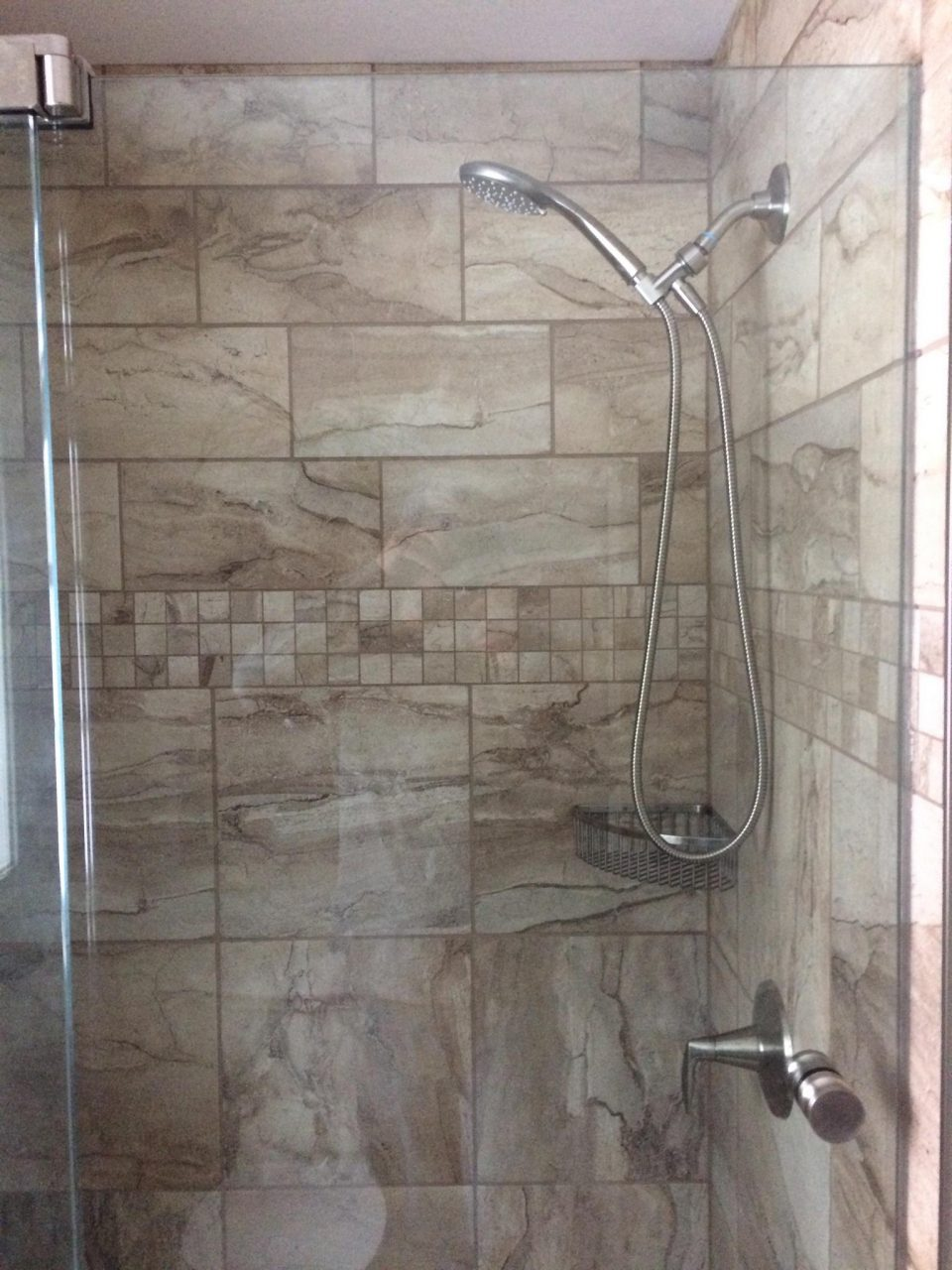 Tile Shower With Glass Door Nh Bath Builders