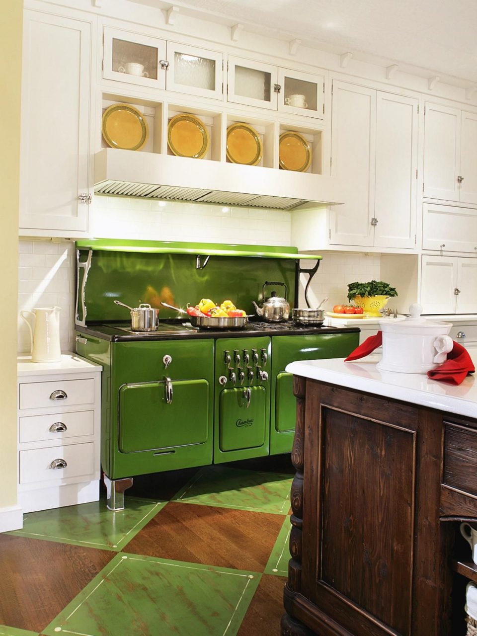 To Ensure The Vintage Apple Green Stove Remains The Kitchens Focal