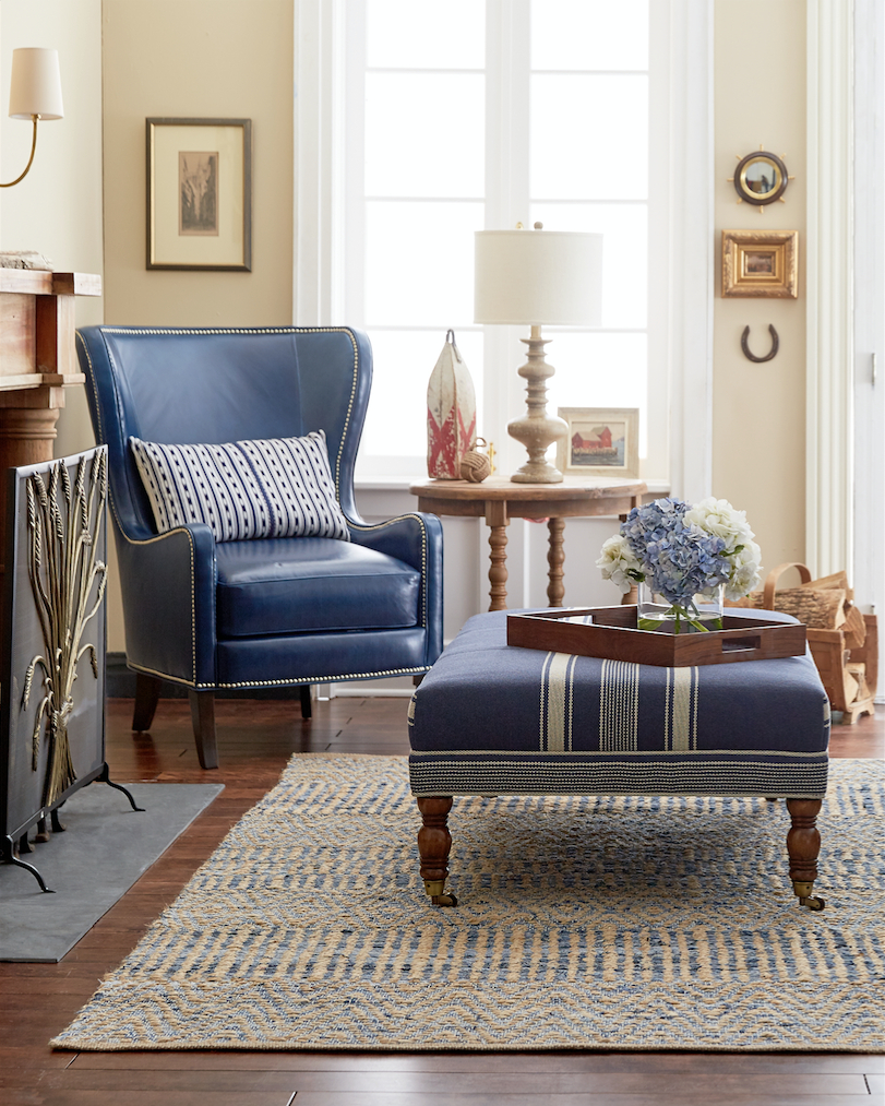 Traditional Neutral Living Room With Rich Navy Blue Accents In Linen