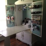 Tv Armoire Turned Into A Sewing Cabinet With Fold Up Table Sewing