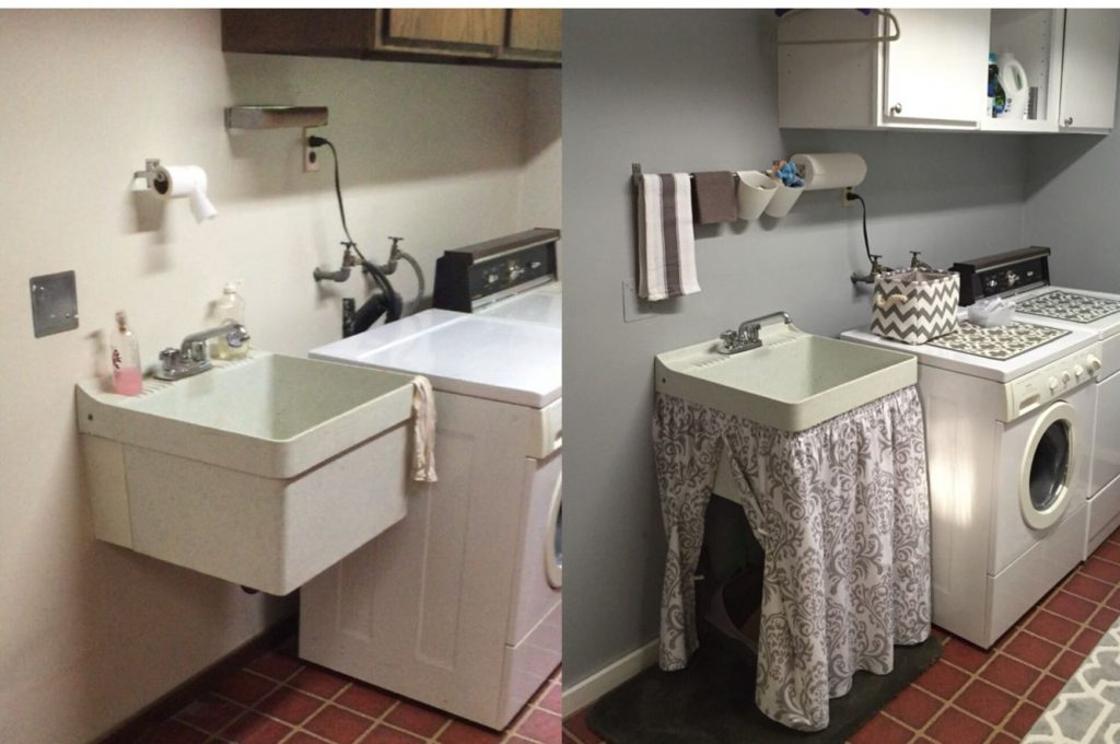Utility Sink Skirt To Hide The Cats Litter Box Before And After