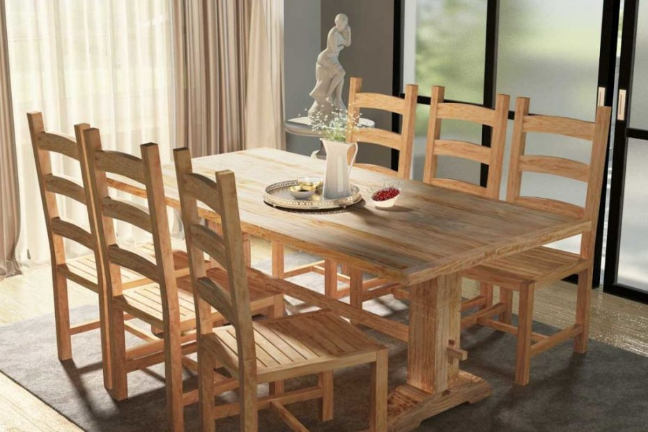 Vidaxl Seven Piece Massive Wooden Dining Table And Chair Kitchen