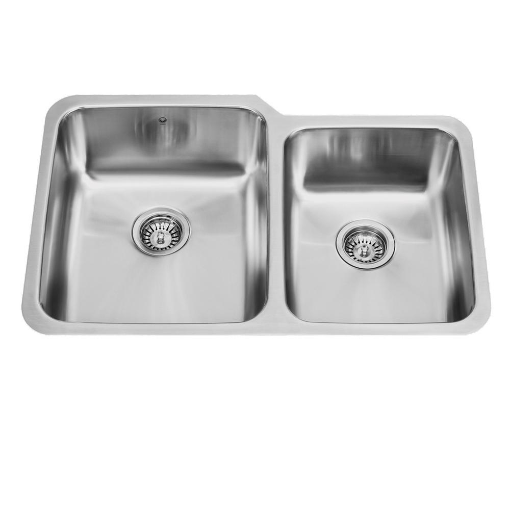 Vigo Undermount Stainless Steel 32 In Double Basin Kitchen Sink