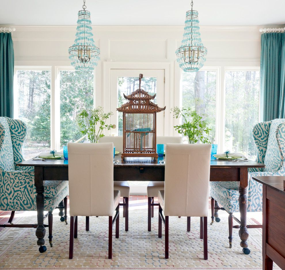 Vintage Dining Room Design With Turquoise White Fabric Wing Back