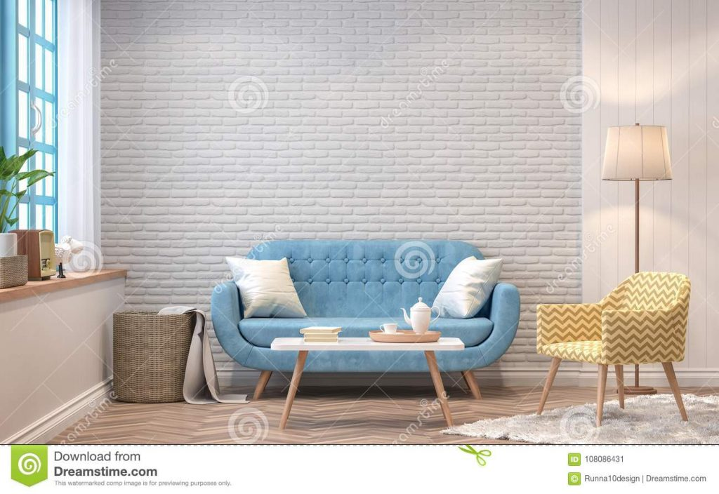 Vintage Living Room 3d Rendering Image Stock Illustration