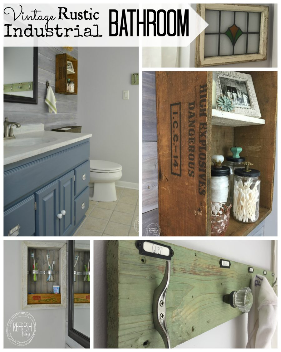 Vintage Rustic Industrial Bathroom Reveal Refresh Living