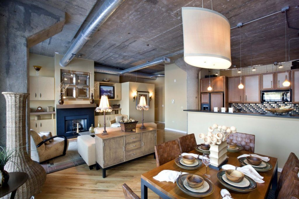 Vintage Style Chicago Loft Condo With Concrete Ceiling Design And