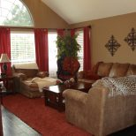 Warm Family Room Reds And Browns For The Home Living Room