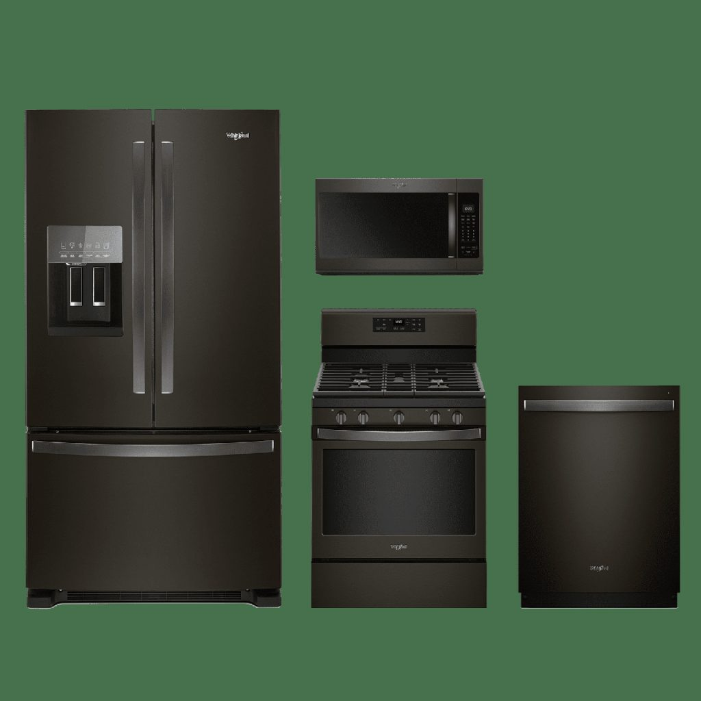 Whirlpool 4 Piece Kitchen Package Fingerprint Resistant Black