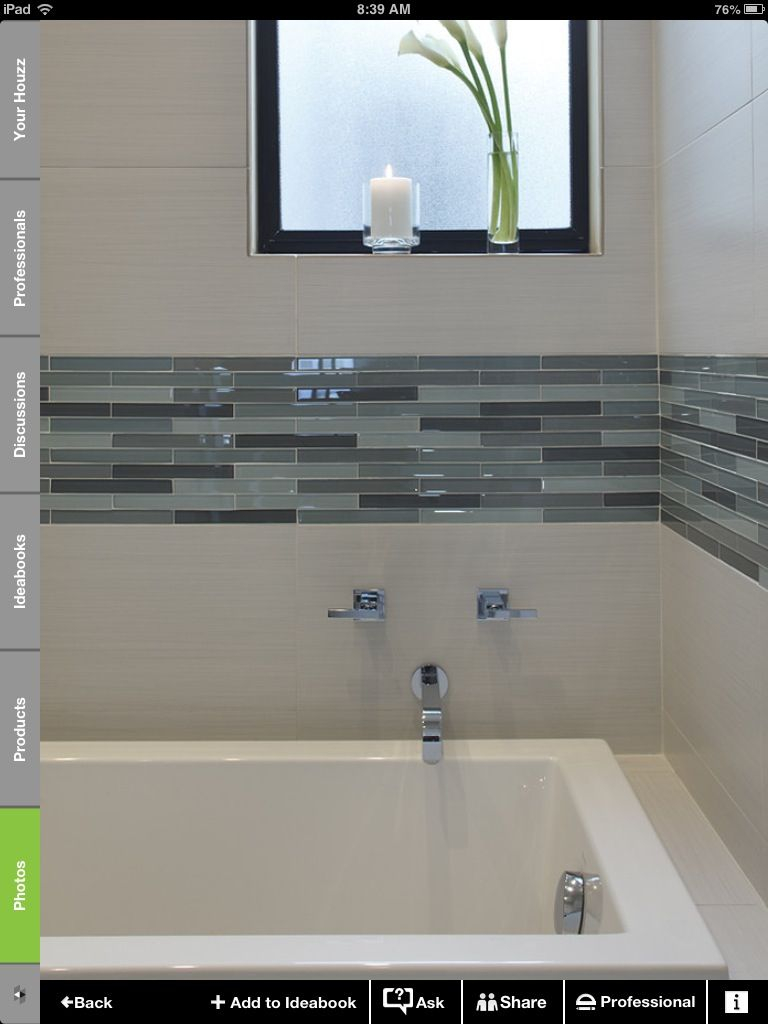 White And Glass Tile Border Bathroom Upgrades Bathroom Tile