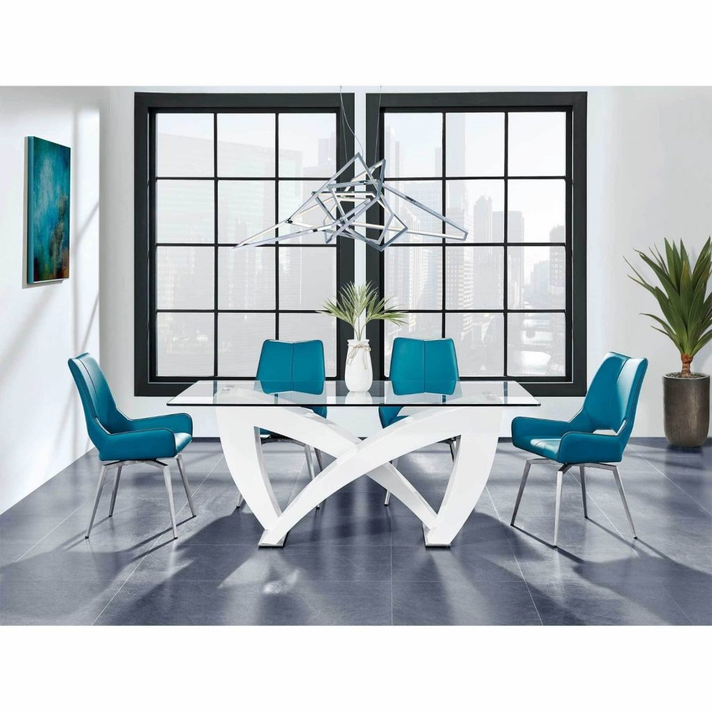 White High Gloss Table Clear Rectangular Glass Leather Turquoise