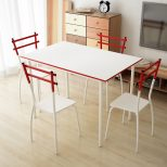 White Ikayaa Modern Metal Frame 5pcs Dining Table With 4 Chairs